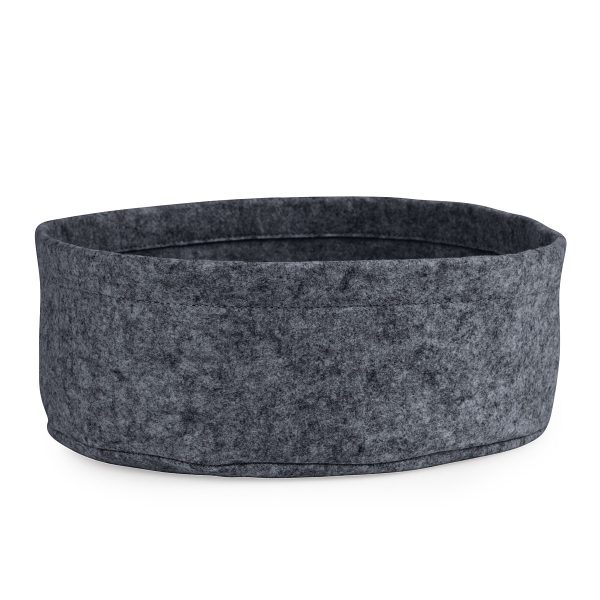 Side view of felt round cat bed in grey