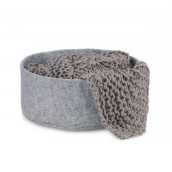 Round felt cat bed with grey blanket in it