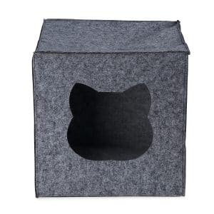 Front view of a square grey cat bed