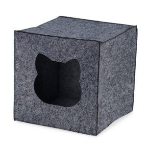 Side view of a square grey cat bed