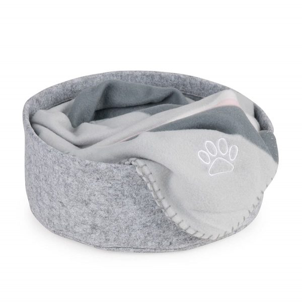Light grey felt round cat bed with blanket