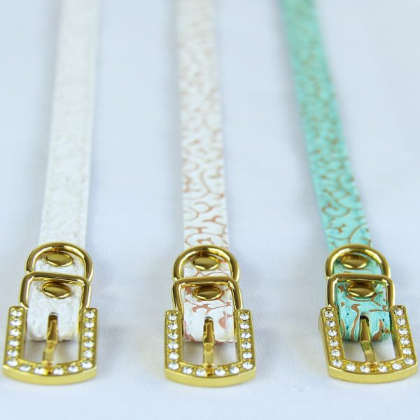 Three cat collars with gold buckles