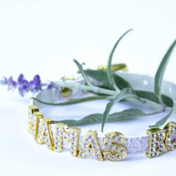 White cat collar with flower